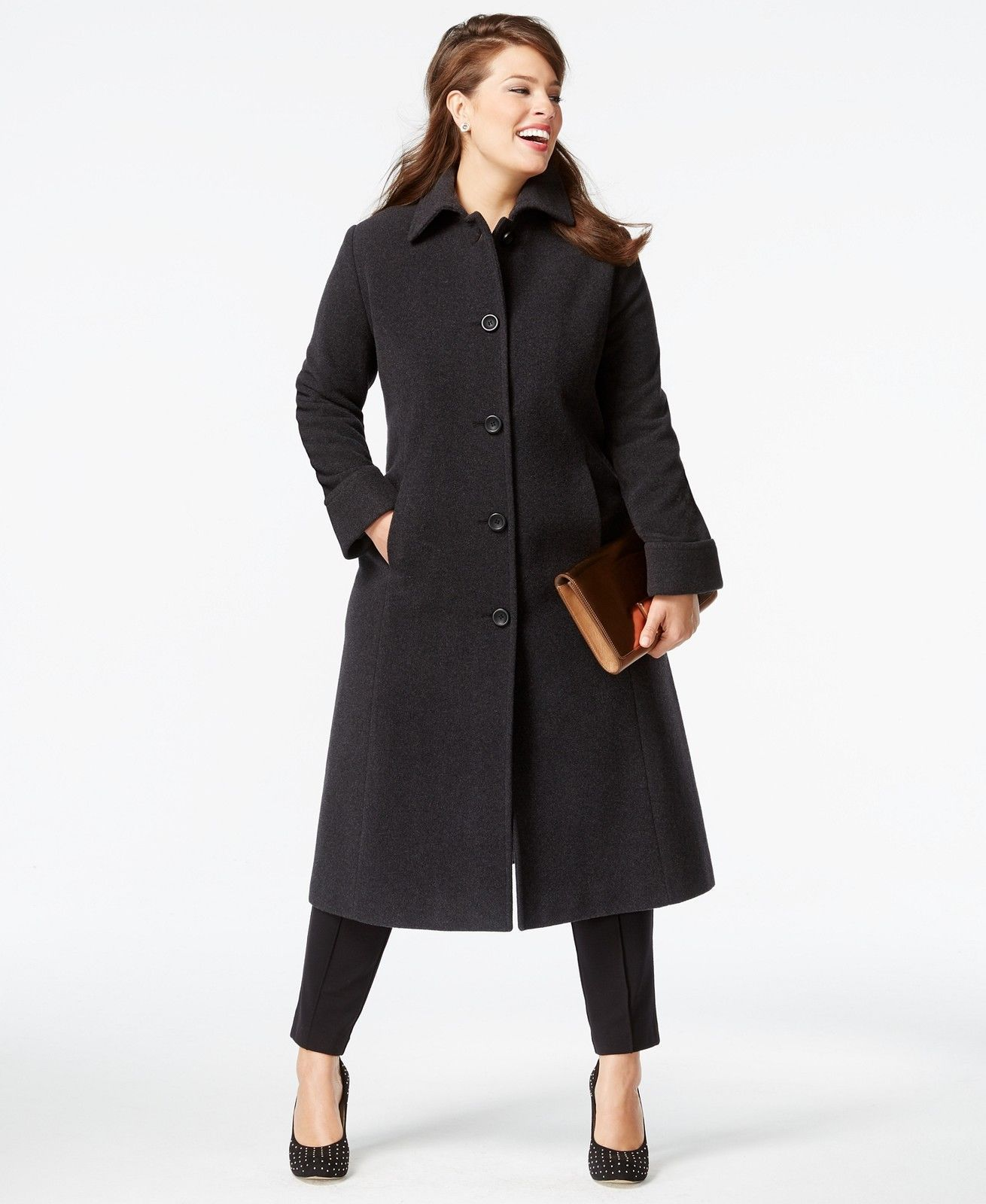 7707be02b18 Jones New York Plus Size Wool Maxi Women s Coat Charcoal 22W NWT MSRP  460