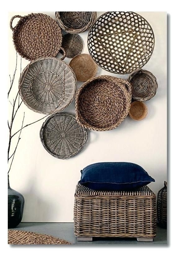 Decorative Objects Living Room: Decorative Basket Wall Art Woven Basket Wall Decor Feature