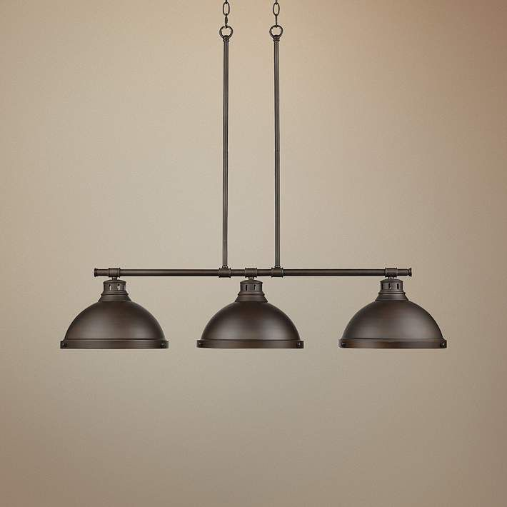 duncan 40 wide rubbed bronze 3 light linear chandelier house rh pinterest com