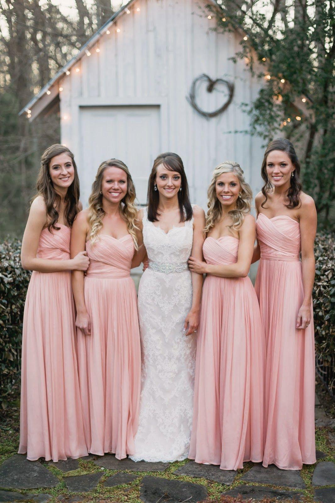 Lace Marisa wedding gown and crystal sash; J. Crew bridesmaids ...