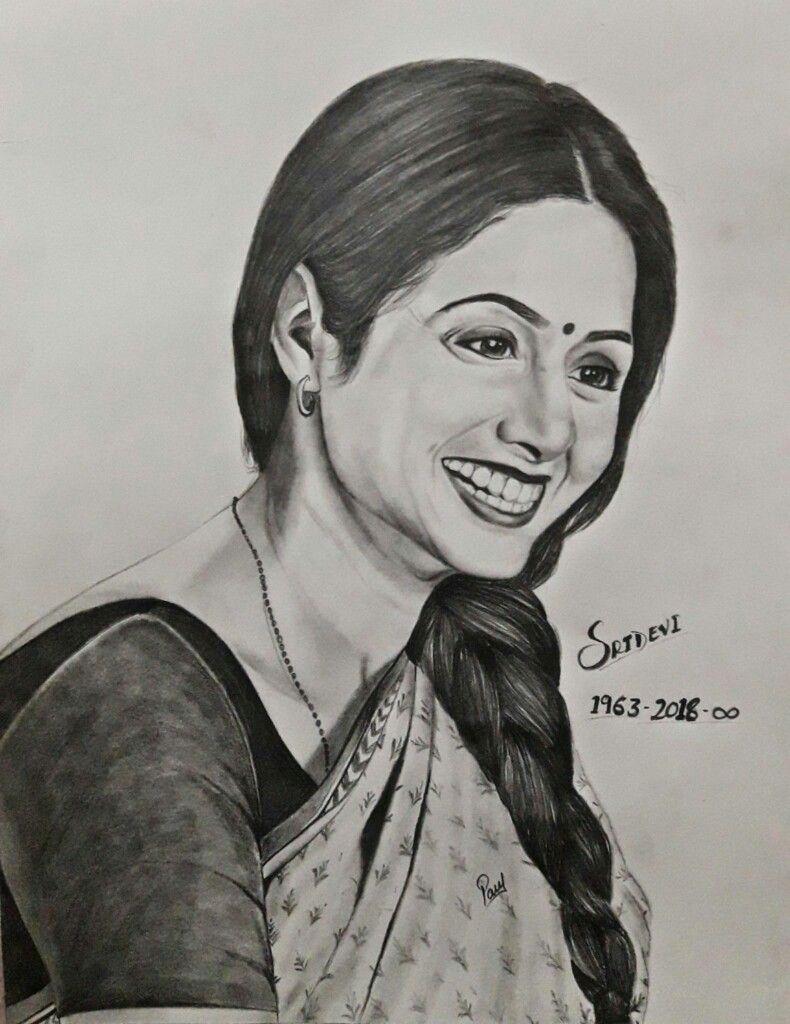 Sridevi pencil sketch