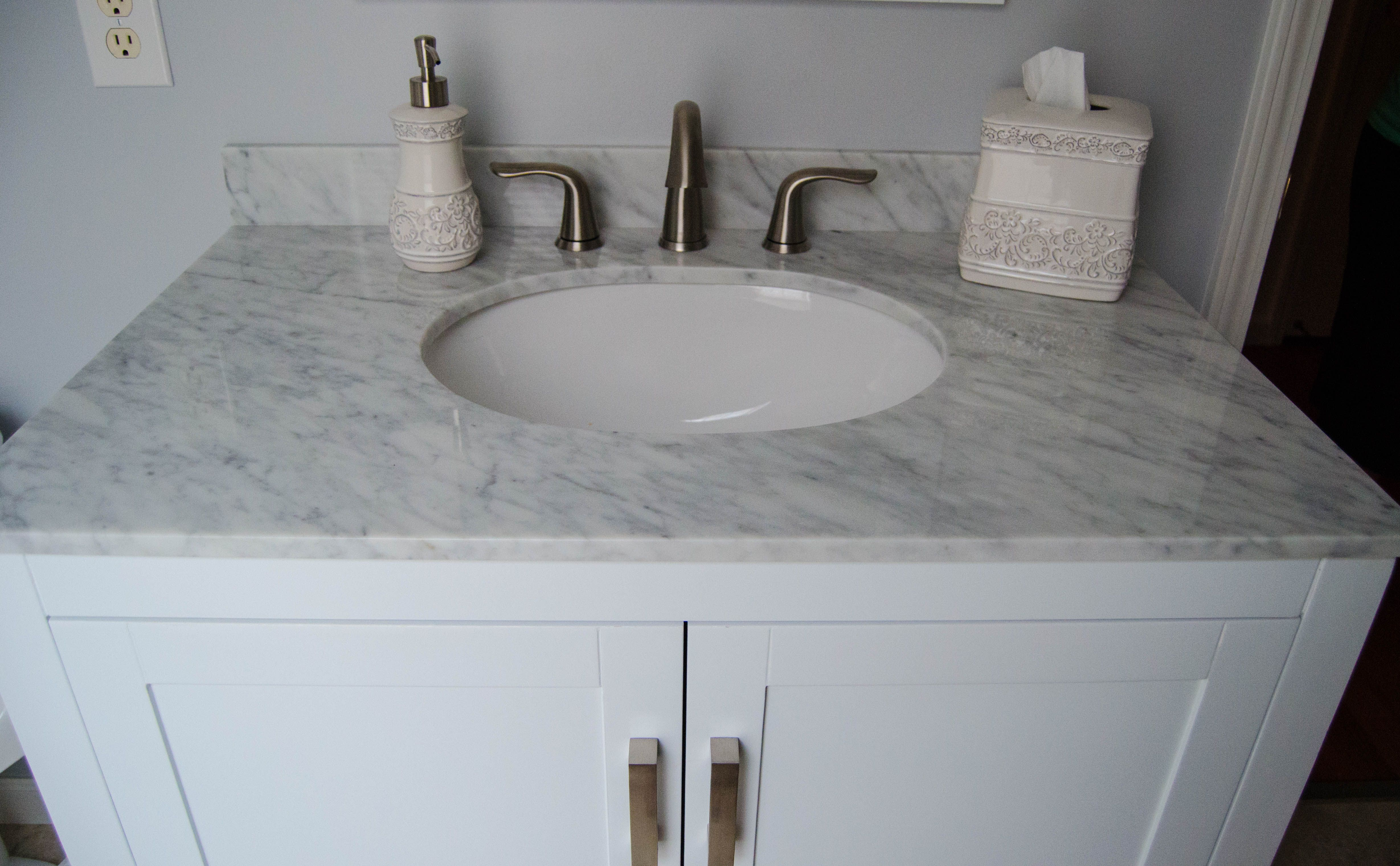 Stainless Steel Delta Faucet Granite Countertop Really Update This Vanity