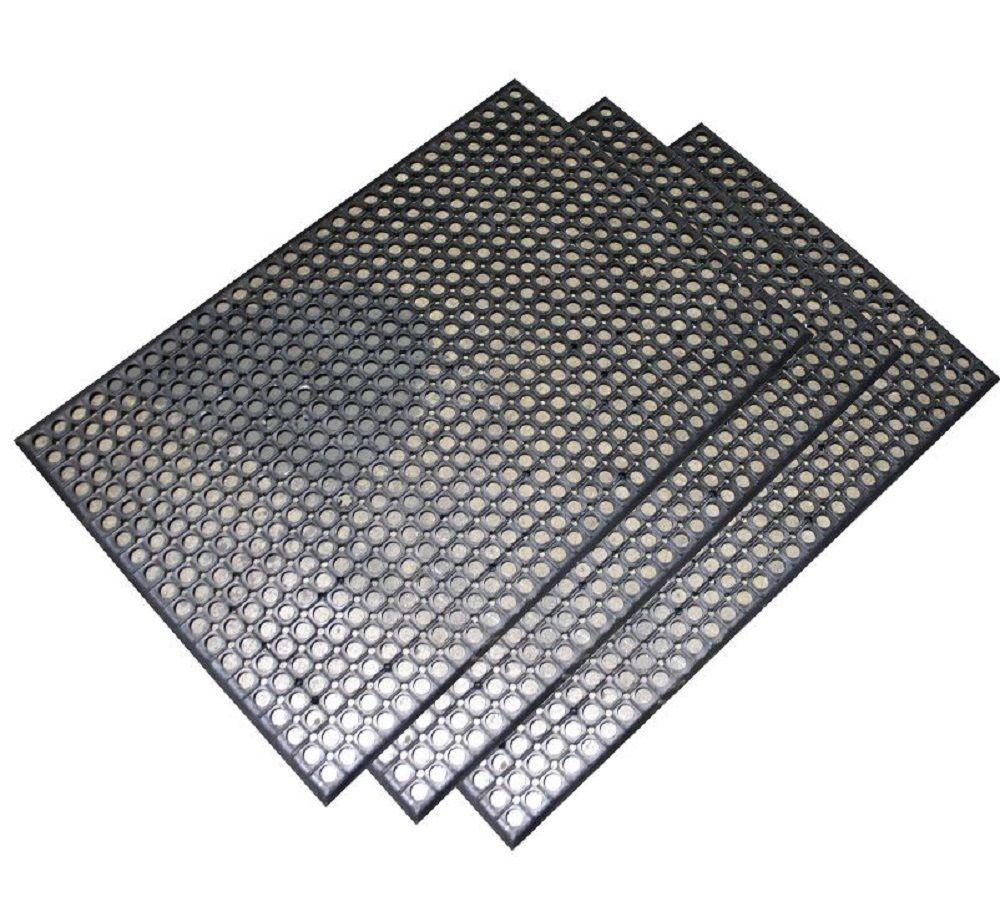 Rubber Floor Mat Set of 3 Door Mats AntiFatigue NonSkid