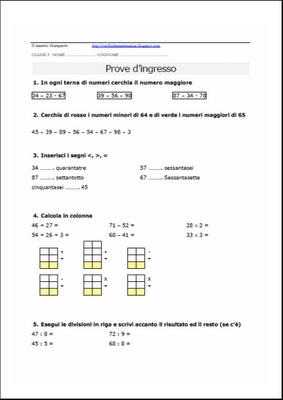Verifiche matematica scuola primaria: Prova d'ingresso ...
