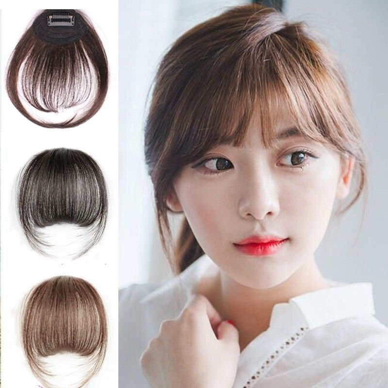 Blackbrown Clip In Front Bangs Straight 100 Real Hair Extension