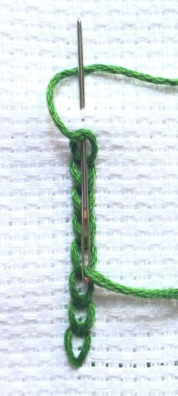 Back stitched chain stitch - hand embroidery tutorials