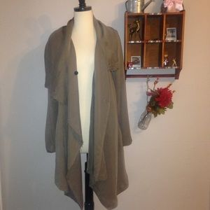 I just added this to my closet on Poshmark: AllSaints   Asymmetrical Jacket / Cardigan. Price: $80 Size: 8