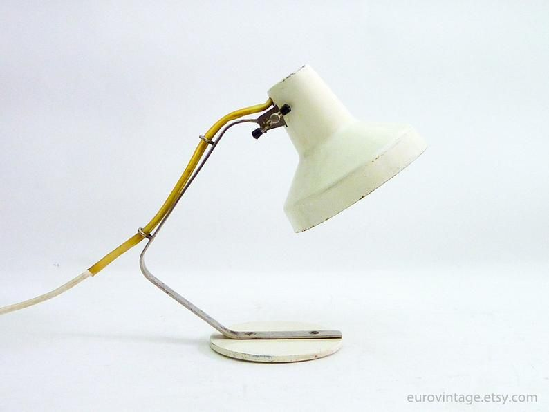 Vintage Small Desk Lamp White Small Bedside Lamp 70s Small