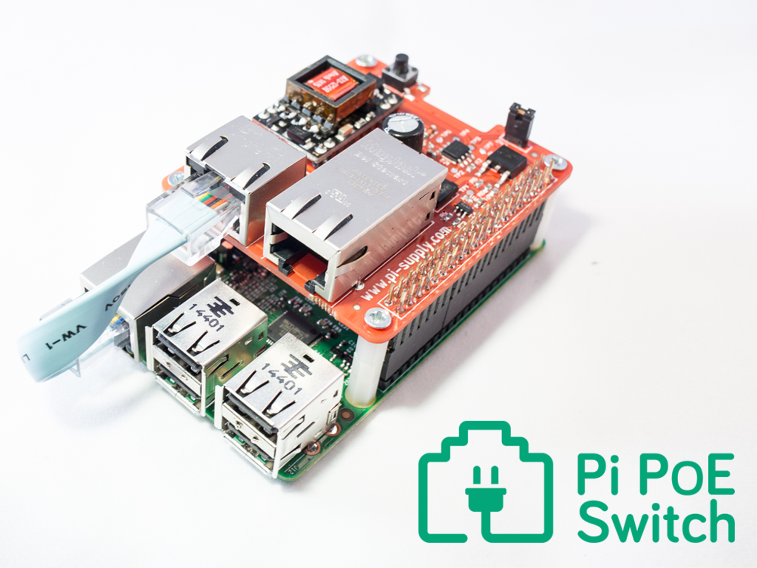 a power over ethernet (poe) add on board (hat) for your raspberry pi