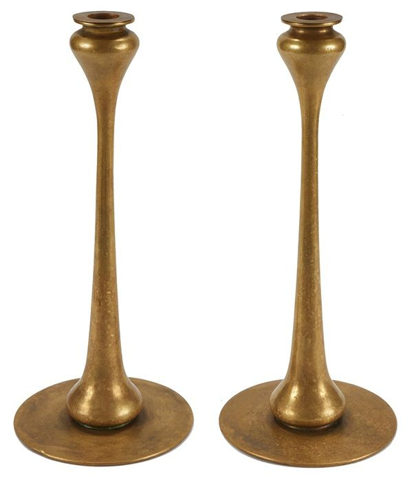 ee351af2687 Robert Riddle Jarvie (1865-1941), Kappa candlesticks, pair, Chicago, IL,  brass, unsigned, 6