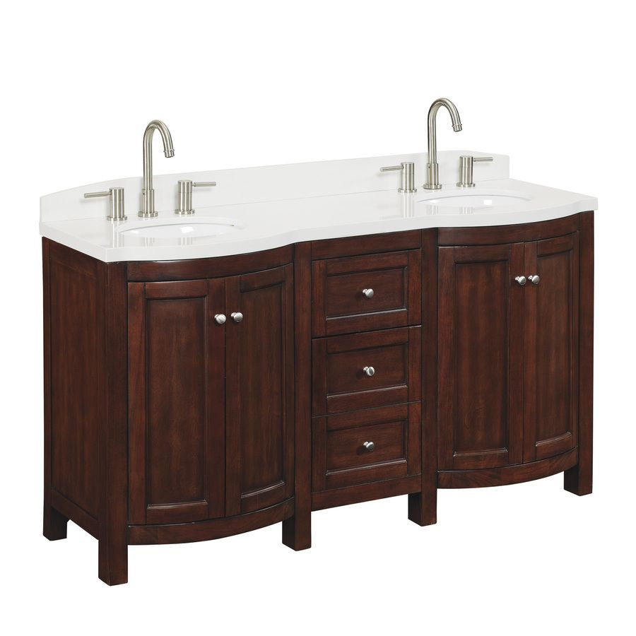 shop allen roth 60 in sable moravia double sink bathroom on lowes vanity id=15885
