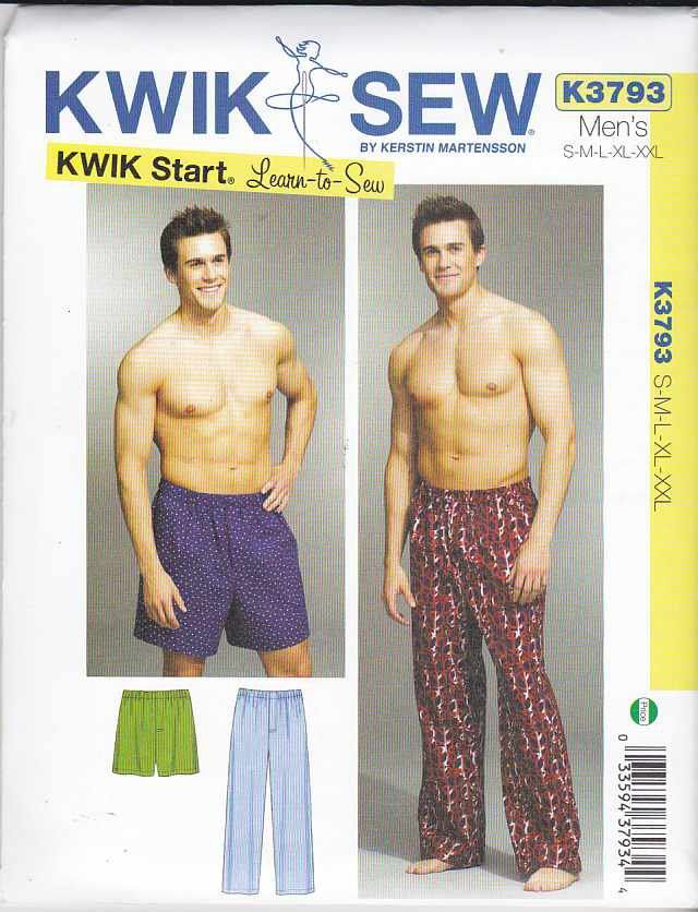 Kwik Sew Sewing Pattern 3793 Men\'s Sizes S-XXL (Waist 28\