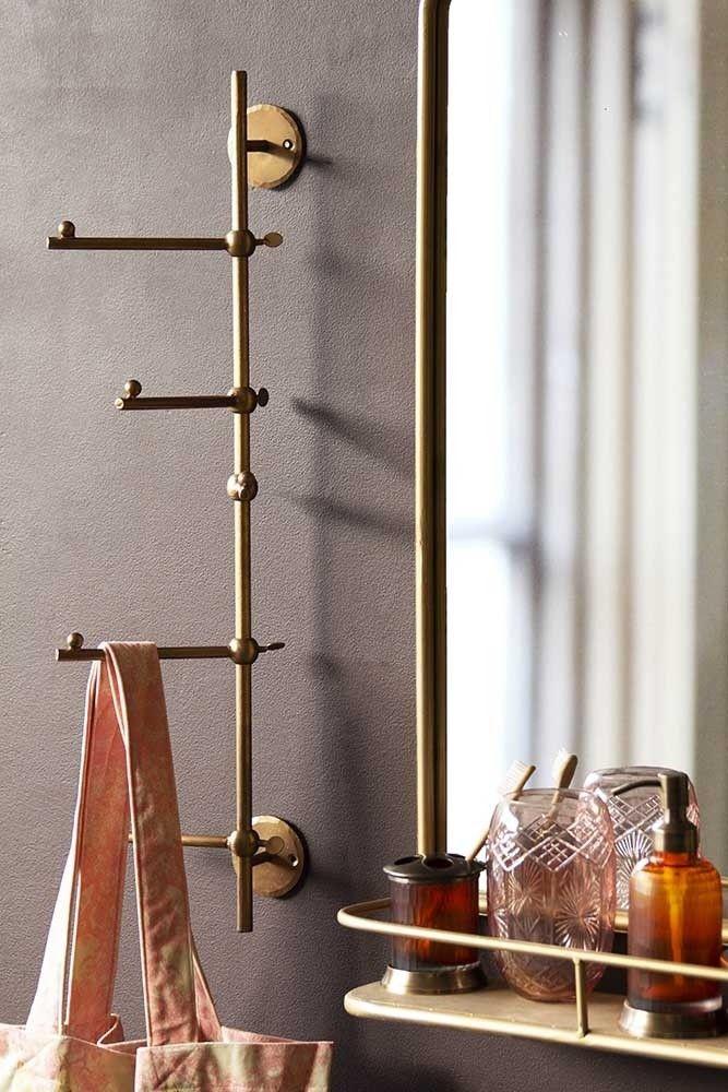 Light Gold Vertical Coat Rack With Swivelling Pegs Rockett St George Modern Coat Rack Coat Rack Wall Hanging Coat Rack