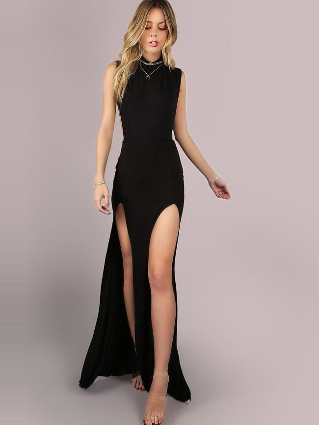 26c1bee057b670 Shein Black High Neck Double Side Slit Maxi Dress