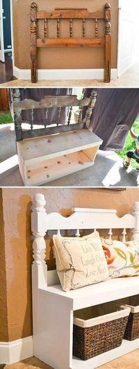 Banc dentrée dune vieille tête de lit et  Banc dentrée fabriqué à partir dune vieille tête de lit et de quelques planches