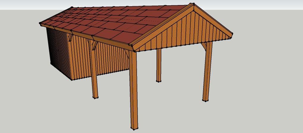 carport 3 x 9 meter mit satteldach und ge teschuppen aus holz zum selber bauen ansicht von. Black Bedroom Furniture Sets. Home Design Ideas