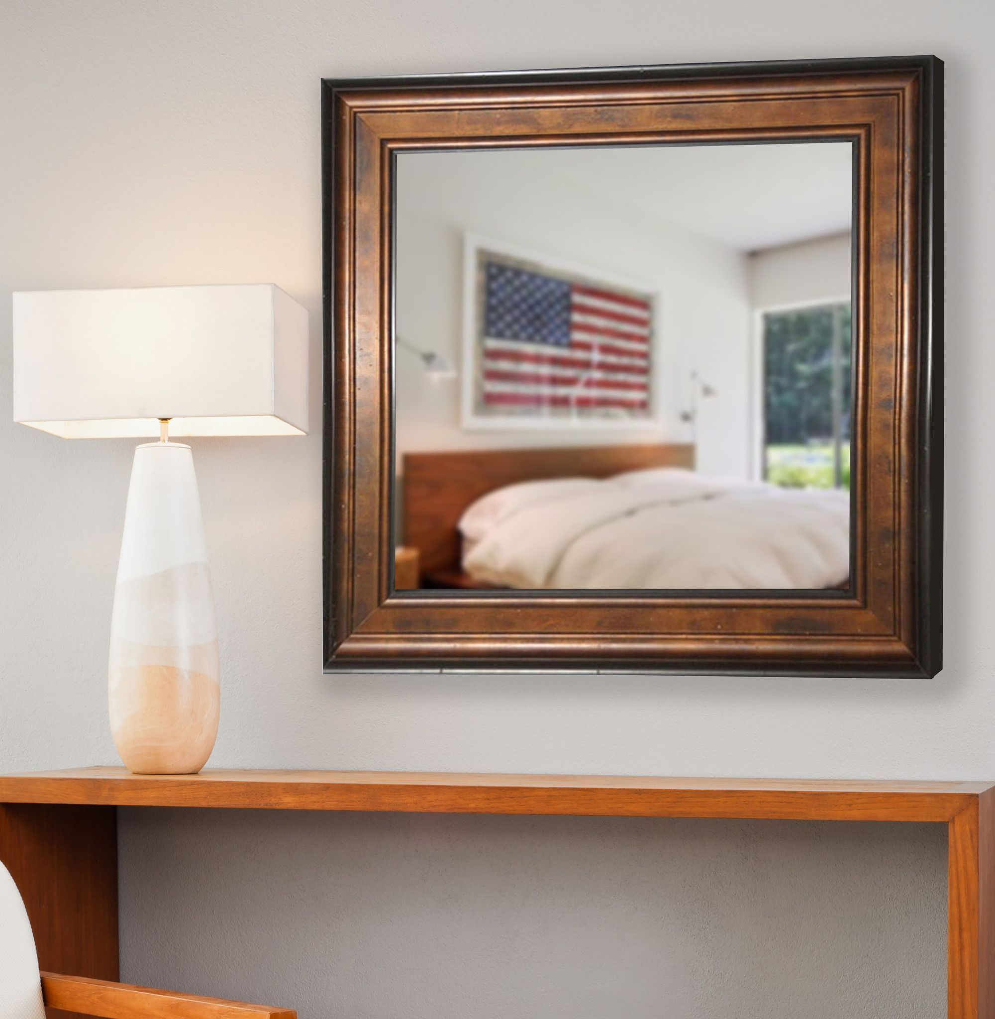 American Made Rayne Bronze and Black Square Wall Mirror