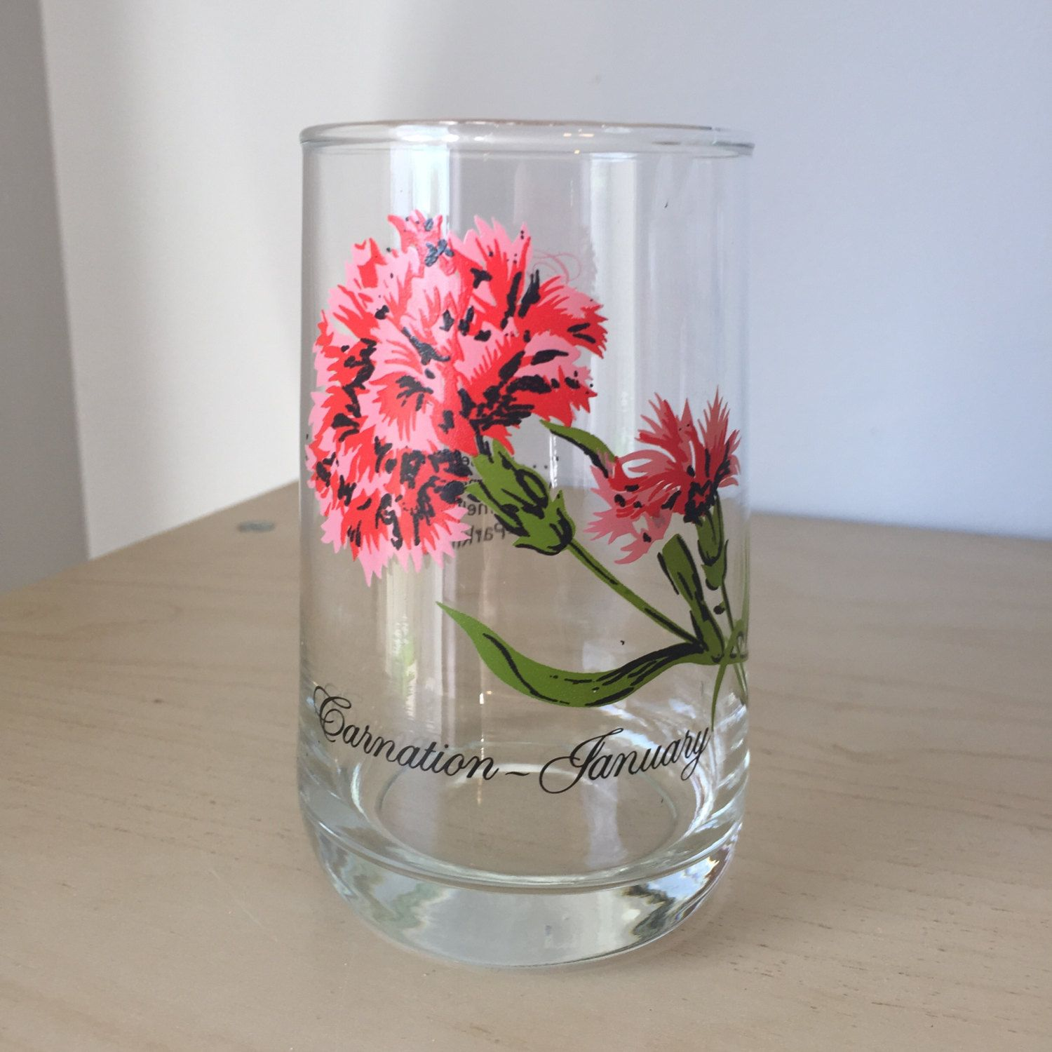 Vintage Flower Of The Month Series Drinking Glass, January