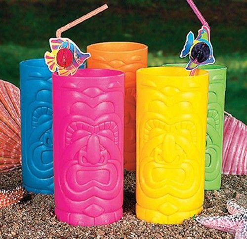 12 TIKI CUP Totem Tribal Glasses Luau Party Decor Favor Color Cups