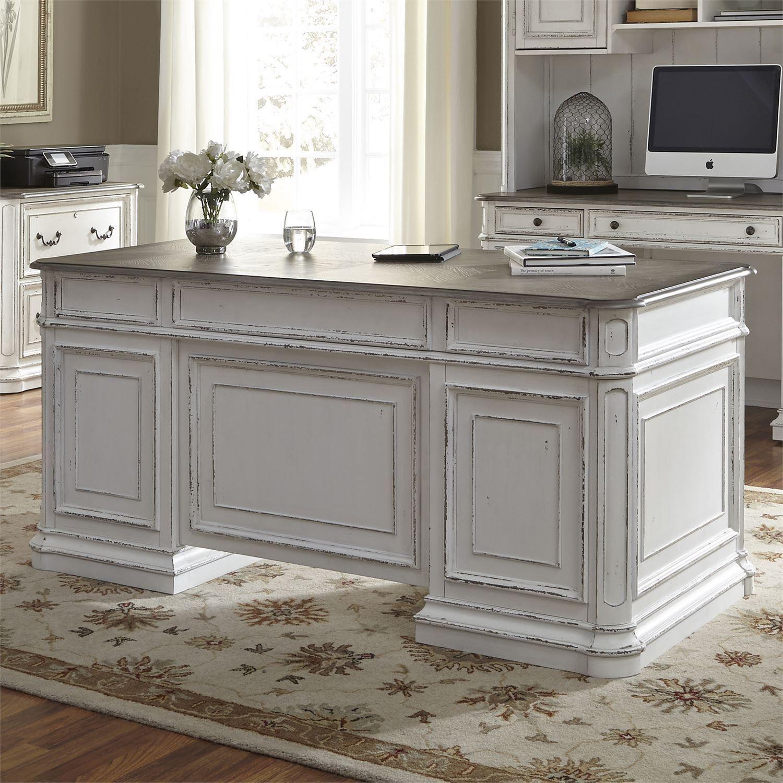 Magnolia Manor Antique White Jr Executive Home Office Set Work Office Decor Home Executive Desk