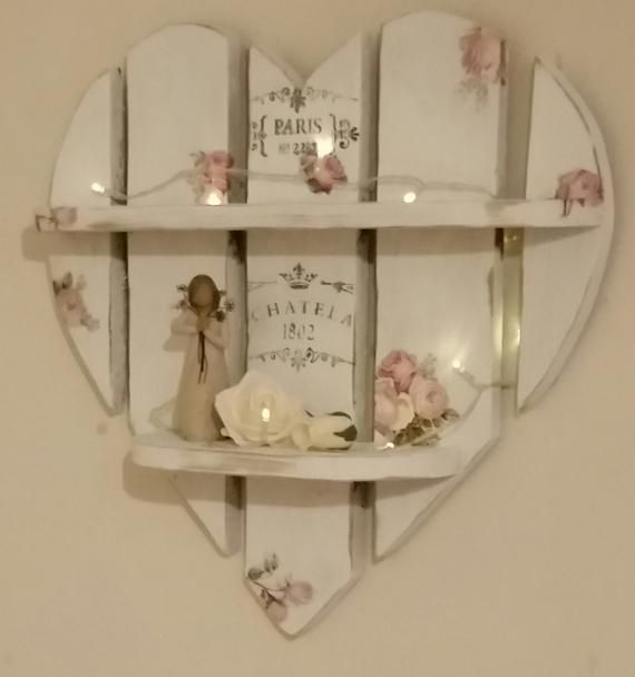 Items similar to vintage rose shabby chic heart shelves on etsy   Items similar to vintage rose shabby chic heart shelves on etsy