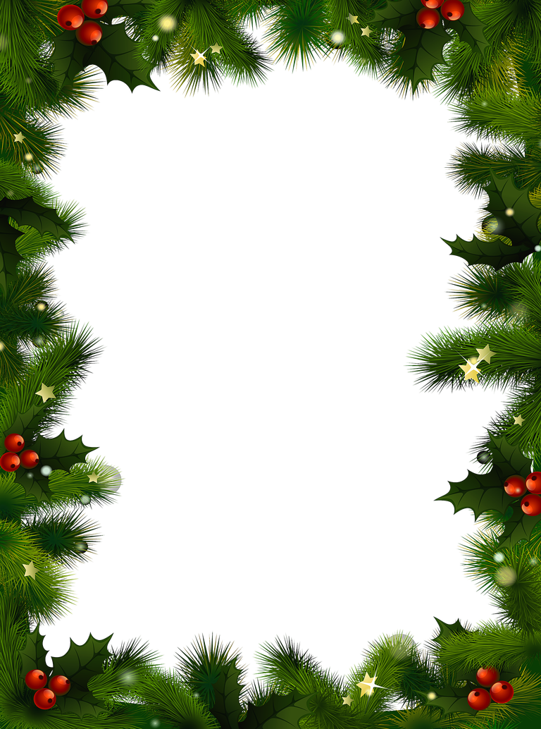 a christmas border with evergreen and berries