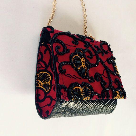 Amii ankara and leather purse by AdinkraExpo on Etsy