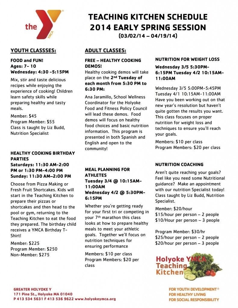 Early Spring Teaching Kitchen Schedule. The Greater Holyoke YMCA ...