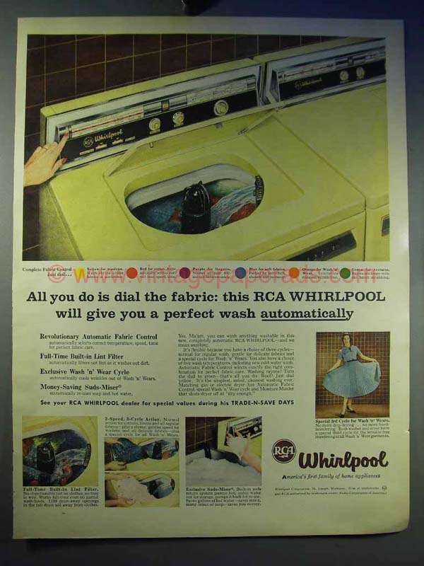 1958 RCA Whirlpool Washing Machine Ad - Dial The Fabric | Pinterest ...