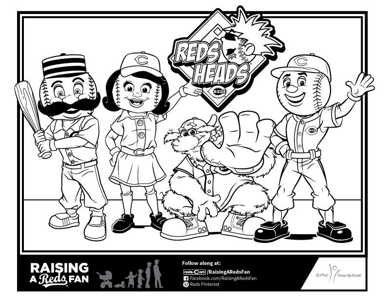 Reds Mascots Coloring Page Reds Opening Day Cincinnati Reds Baseball Pennants