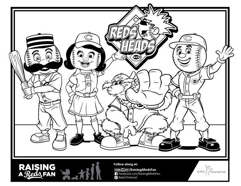 Reds Mascot Coloring Sheet | Raising A Reds Fan | Pinterest