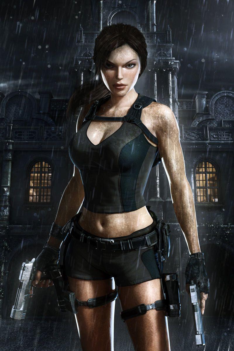 Image Tomb Raider Underworld Pistols Lara Croft Girls Rain