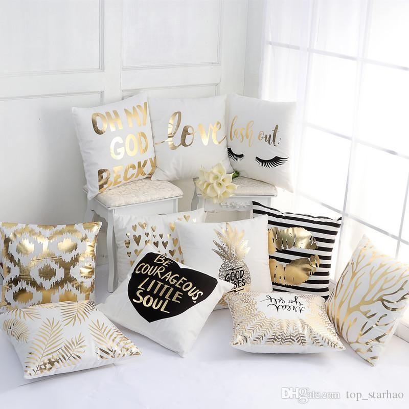 Luxury Pillow Case Bronzing Cushion Cover Gold Printed Pillow Cover Decorative Pillow Case Sofa Seat Car Pillowcase Wholesale Xl G102 Free Pillowcase Pattern Ho