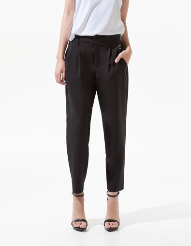 TROUSERS WITH BUCKLE AT THE WAIST - ZARA United States