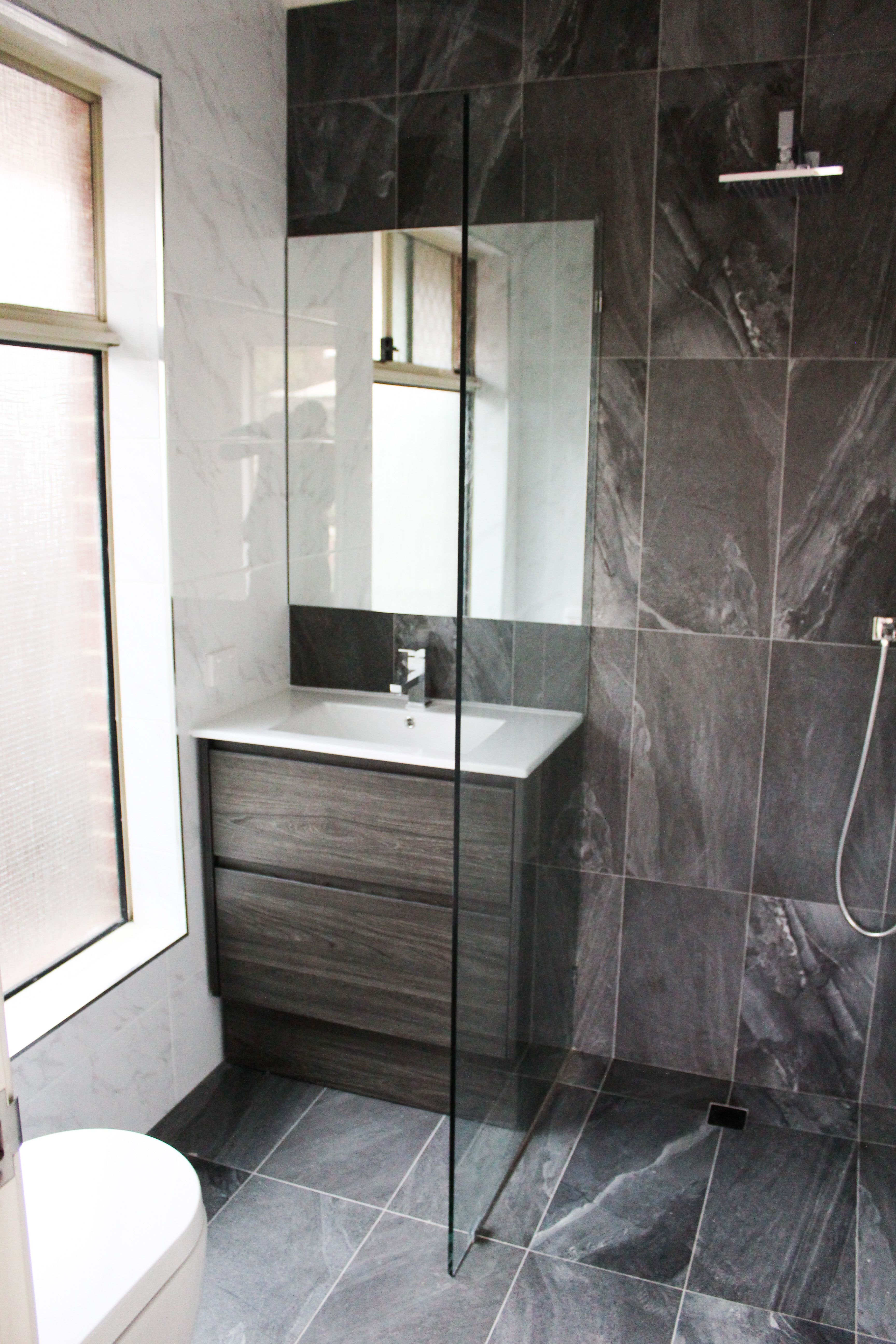Charcoal Vanity Black And White Bathroom Full Height Feature
