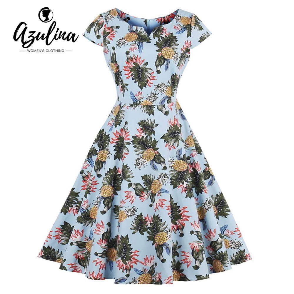 6fe50064126 Plus Size Pineapple Print A Line Vintage Dress