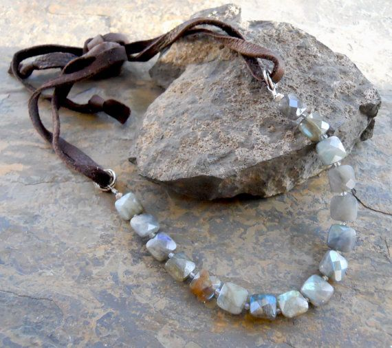 Labradorite Necklace with Leather Tie by TokenJewelryDesigns, $68.00