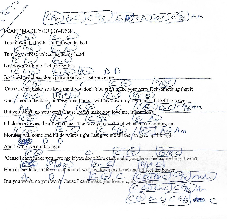 I Can't Make You Love Me Bonnie Raitt Guitar Chord Chart with ...