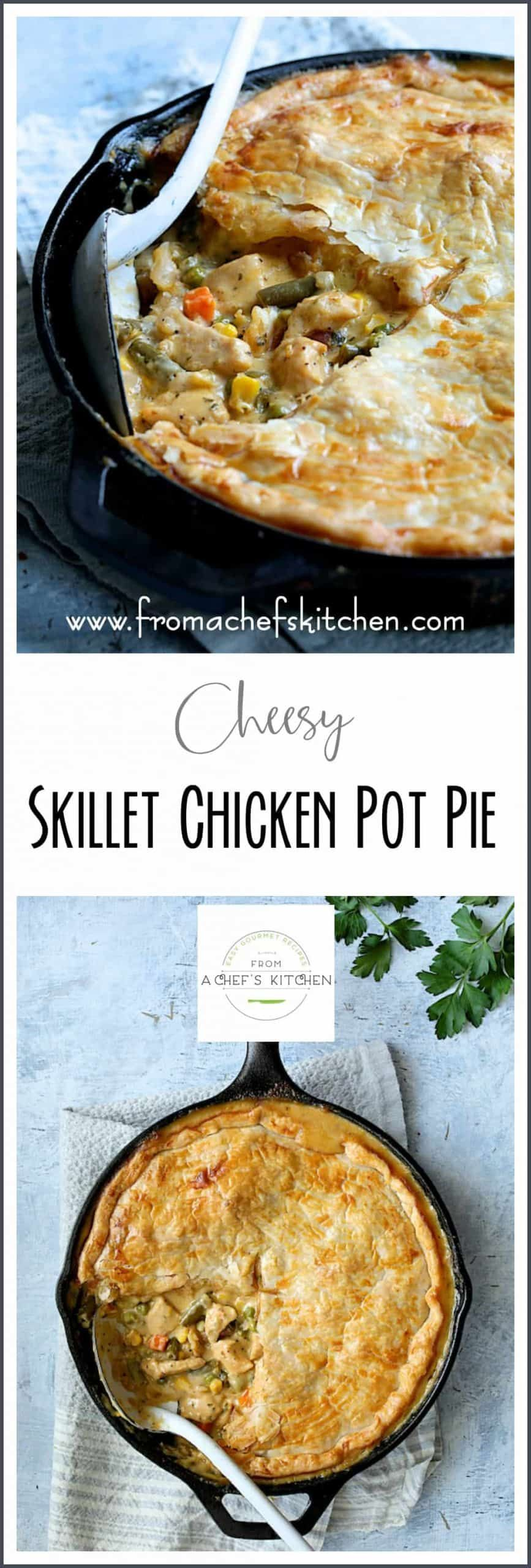Cheesy Skillet Chicken Pot Pie is pure classic comfort food made in one pan for an easy dinner that's sure to become a family favorite! #AD #sponsored #PerdueFarmsFarmtoHome #PerdueFarms_Partner AD #FamilyFarming #ThankAFarmer #FamilyFarmers #RaisedWithCare @PerdueFarms