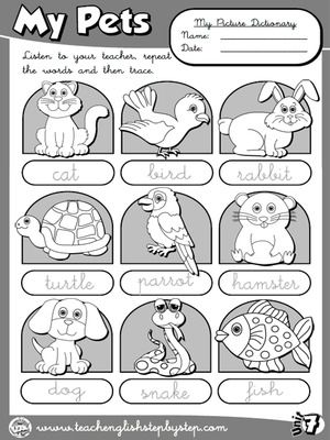 My Pets - Picture Dictionary (B&W version)