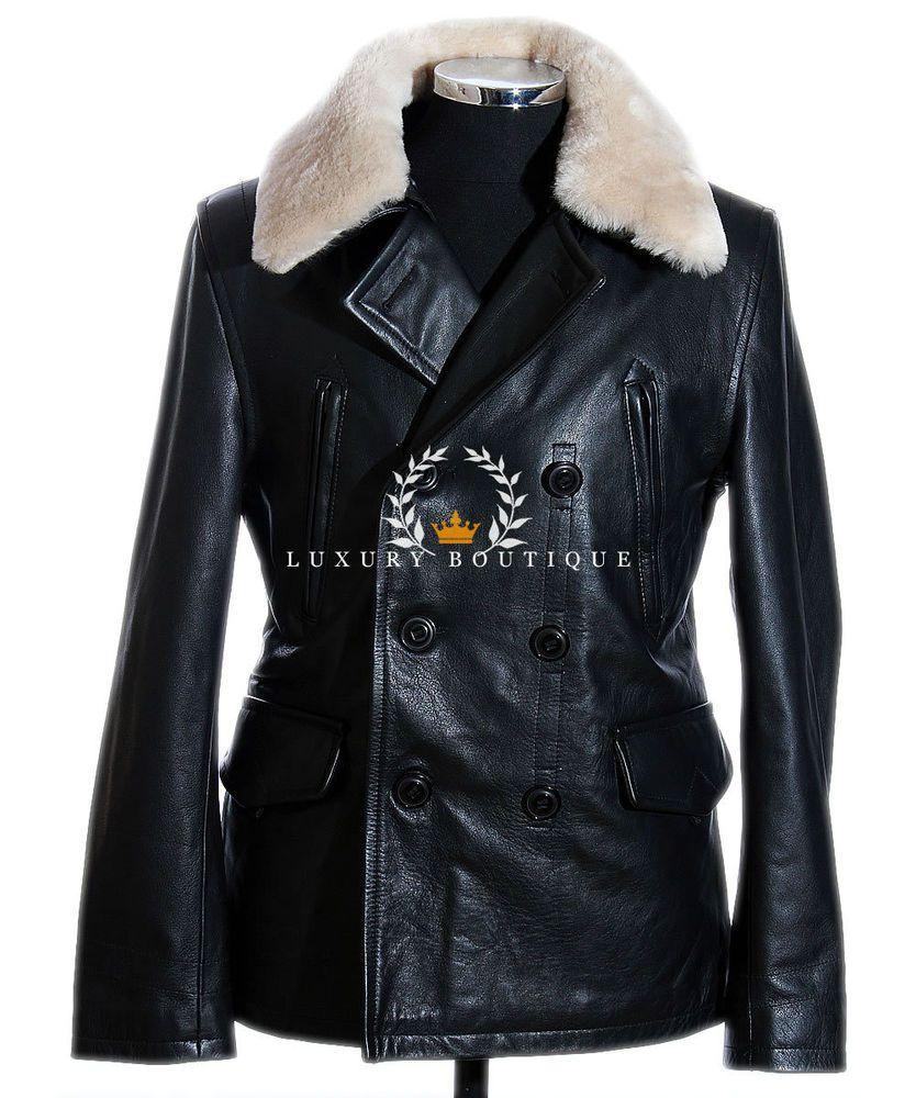 German Air Force Black Men's WW2 Military Real Cowhide Leather ...