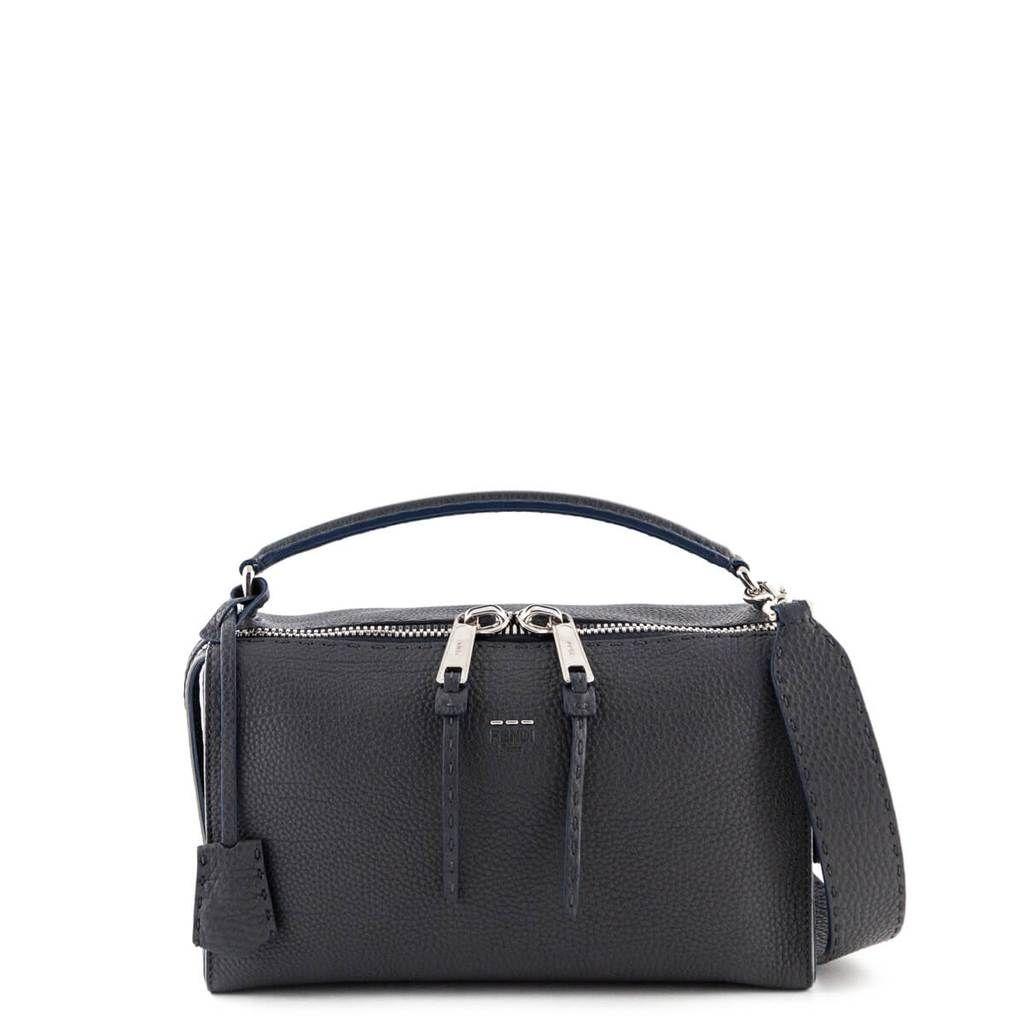 5a5b106dde94 Fendi Grey Roman Leather Calfskin Lei Selleria Boston Bag