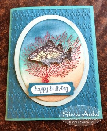 Stampin Up  By The Tide stamp set card...........Embossing Resist, Sponging and Watercolor Techniques. happy birthday