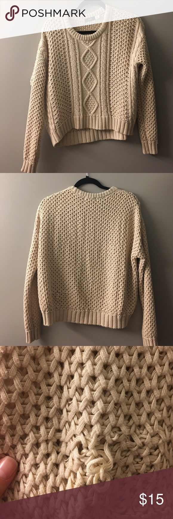 Cream colored crochet knit sweater | Cozy and Customer support