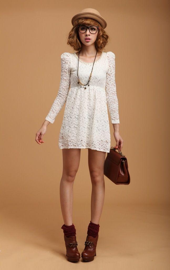 $31.39 Autumn fashion new ultra-sweet beaded Puff Sleeve Lace Dress