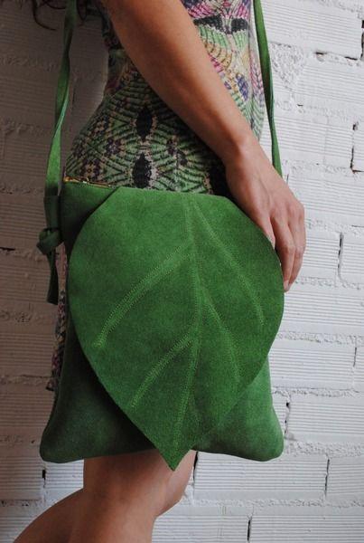 Einzelblatt moosgrün Handtasche von decuir  auf DaWanda.com