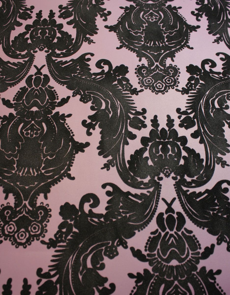 plush flocked wallpaper heirloom damask plumblack velvet
