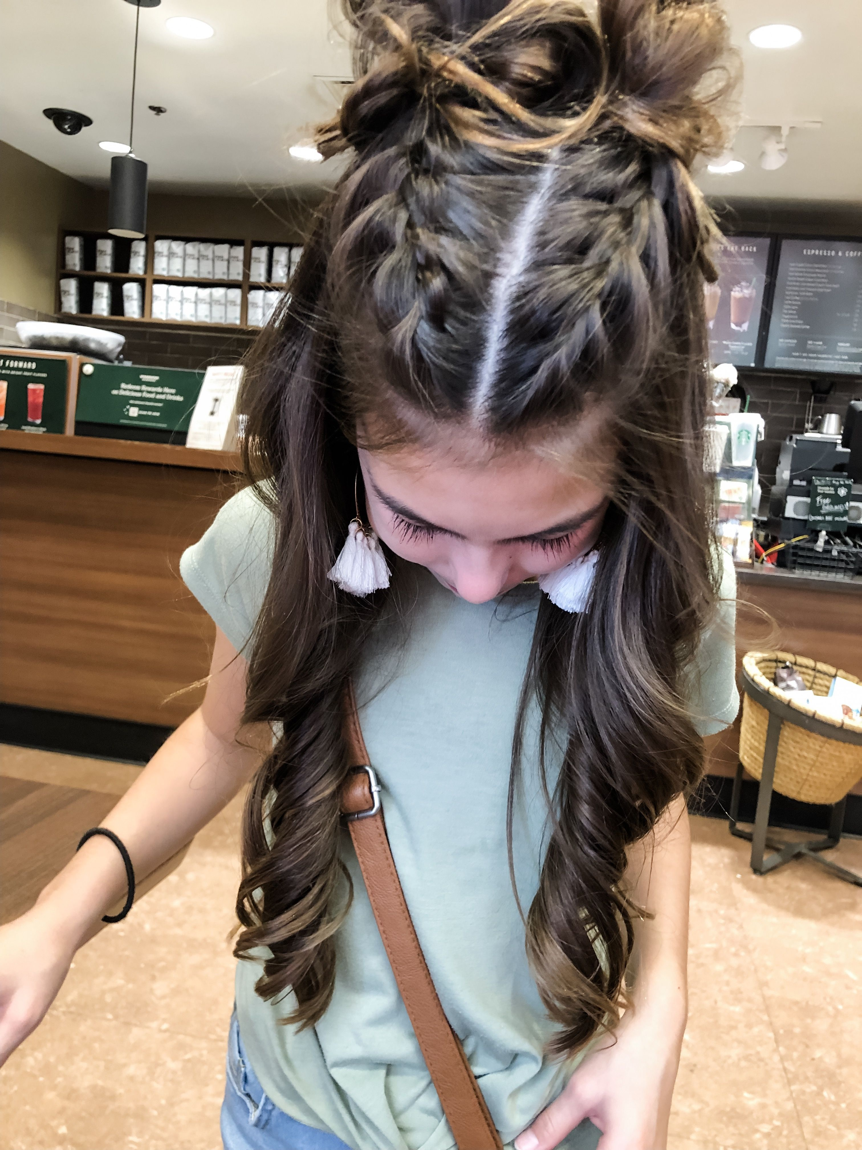 first day of school hairstyle. split braids with curly hair