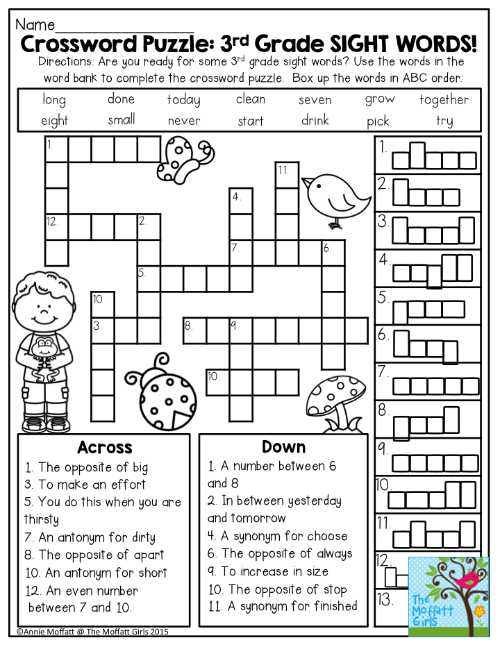 Crossword Puzzle: 3rd Grade SIGHT WORDS! Great introduction ...