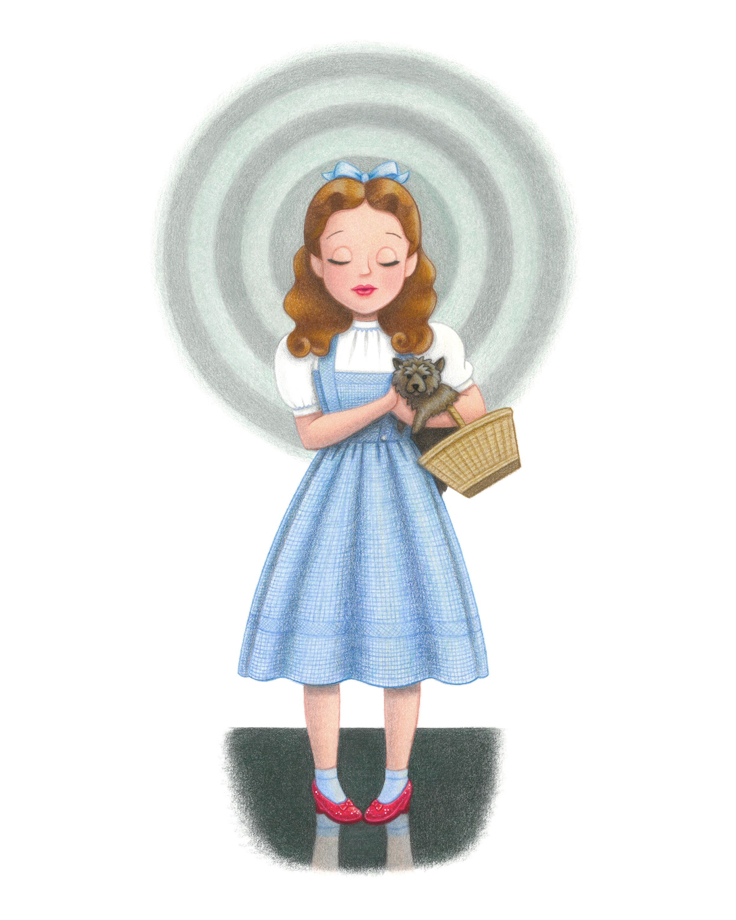 Wizard Of Oz Dorothy Colored Pencil Art Print